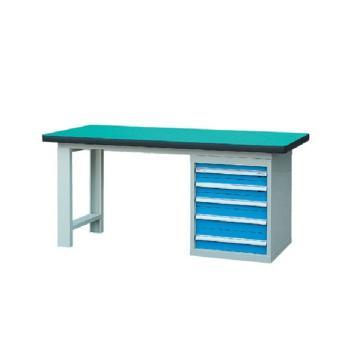 50mm复合桌面单侧5抽柜重型工作桌, 1500W*750D*800H 载重:1000kg