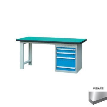 锐德 50mm不锈钢桌面单侧4抽柜重型工作桌, 2100W*750D*800H 载重:1000kg,不含安装费,安装费请另询