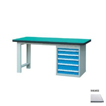 锐德 50mm铁板桌面单侧5抽柜重型工作桌, 2100W*750D*800H 载重:1000kg