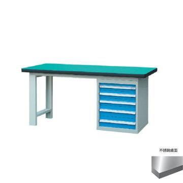 锐德 50mm不锈钢桌面单侧5抽柜重型工作桌, 2100W*750D*800H 载重:1000kg