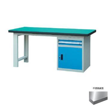 锐德 50mm不锈钢桌面单侧1抽1门柜重型工作桌, 1800W*750D*800H 载重:1000kg