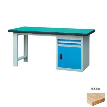锐德 50mm榉木桌面单侧1抽1门柜重型工作桌, 2100W*750D*800H 载重:1000kg