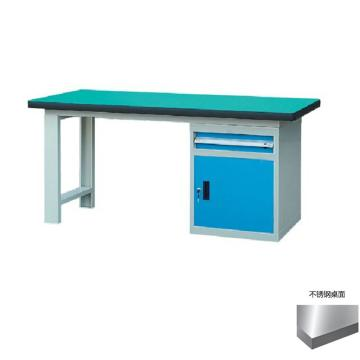 锐德 50mm不锈钢桌面单侧1抽1门柜重型工作桌, 2100W*750D*800H 载重:1000kg