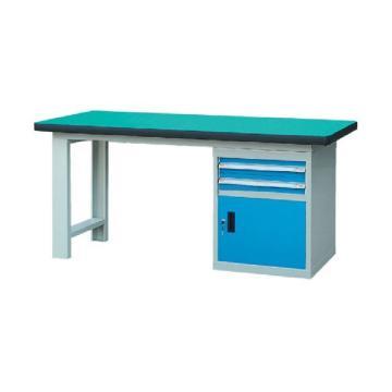 锐德 50mm复合桌面单侧2抽1门柜重型工作桌, 2100W*750D*800H 载重:1000kg