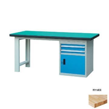 锐德 50mm榉木桌面单侧2抽1门柜重型工作桌, 2100W*750D*800H 载重:1000kg
