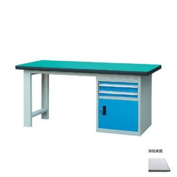锐德 50mm铁板桌面单侧2抽1门柜重型工作桌, 2100W*750D*800H 载重:1000kg