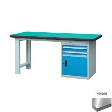 锐德 50mm不锈钢桌面单侧2抽1门柜重型工作桌, 2100W*750D*800H 载重:1000kg