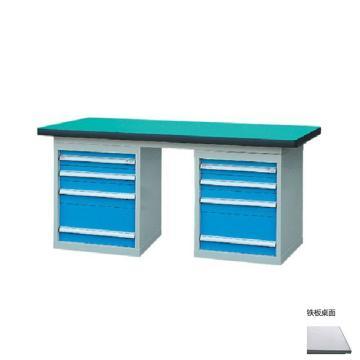 锐德 50mm铁板桌面双侧4抽柜重型工作桌, 1500W*750D*800H 载重:1000kg