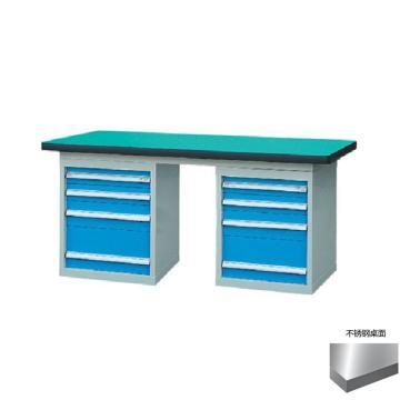 锐德 50mm不锈钢桌面双侧4抽柜重型工作桌, 1500W*750D*800H 载重:1000kg