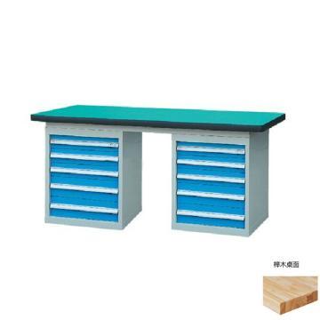 锐德 50mm榉木桌面双侧5抽柜重型工作桌, 1500W*750D*800H 载重:1000kg