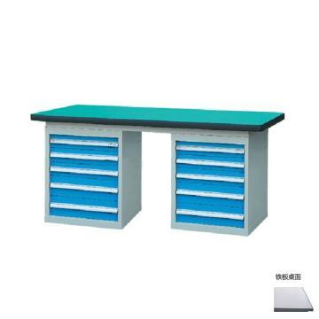 锐德 50mm铁板桌面双侧5抽柜重型工作桌, 1500W*750D*800H 载重:1000kg