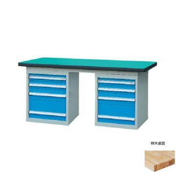 锐德 50mm榉木桌面双侧4抽柜重型工作桌, 1800W*750D*800H 载重:1000kg