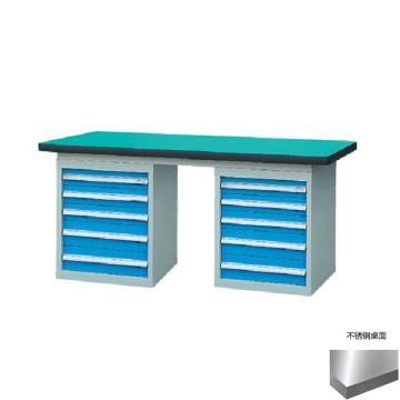 锐德 50mm不锈钢桌面双侧5抽柜重型工作桌, 2100W*750D*800H 载重:1000kg,不含安装费,安装费请另询