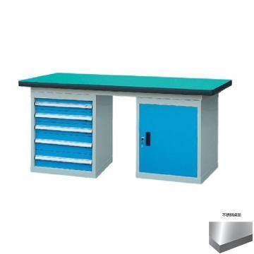锐德 50mm不锈钢桌面双侧5抽1门柜重型工作桌, 1500W*750D*800H 载重:1000kg,不含安装费,安装费请另询