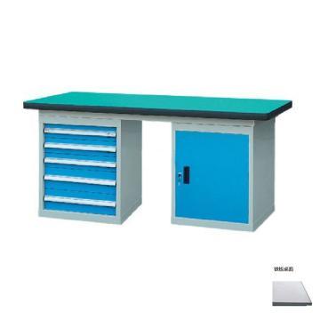 锐德 50mm铁板桌面双侧5抽1门柜重型工作桌, 1800W*750D*800H 载重:1000kg,不含安装费,安装费请另询