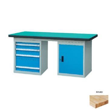 锐德 50mm榉木桌面双侧4抽1门柜重型工作桌, 2100W*750D*800H 载重:1000kg,不含安装费,安装费请另询