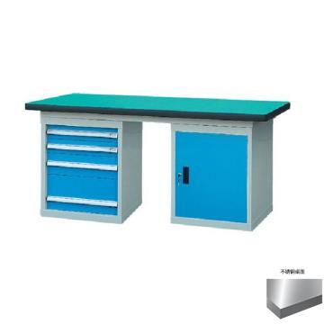 锐德 50mm不锈钢桌面双侧4抽1门柜重型工作桌, 2100W*750D*800H 载重:1000kg,不含安装费,安装费请另询