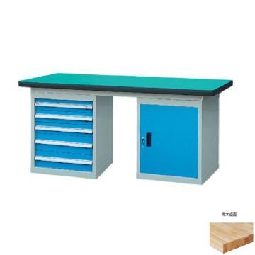锐德 50mm榉木桌面双侧5抽1门柜重型工作桌, 2100W*750D*800H 载重:1000kg,不含安装费,安装费请另询