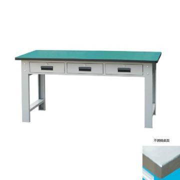 锐德 50mm不锈钢桌面三抽重型工作桌,1500W*750D*800H 载重:1000kg,RD1531B 不含安装费