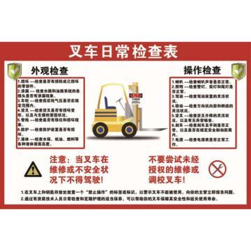 叉车日常检查表,ABS工程塑料,75cm×50cm