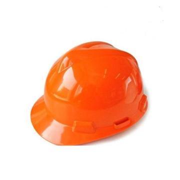 MSA V-Gard ABS标准型安全帽,橙色,超爱戴帽衬,灰针织布吸汗带,尼龙顶带,D型下颏带,10172891
