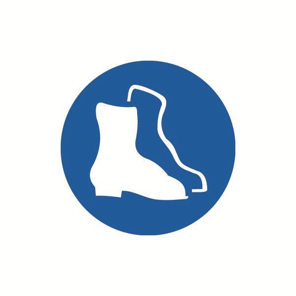安赛瑞 GB安全警示标签-必须穿防护鞋,Ф100mm,32842,10片/包
