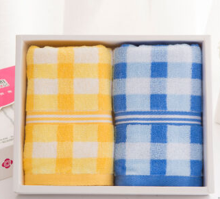 洁丽雅 Grace 家纺毛巾糖果色方格吸水面巾 二条装礼盒黄+兰 68*32cm85g/条