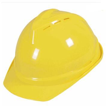 安全帽,V型带透气孔ABS安全帽,黄色
