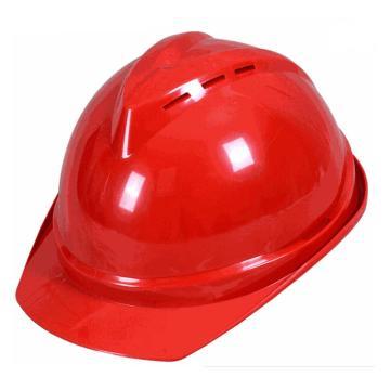 安全帽,V型带透气孔ABS安全帽,红色