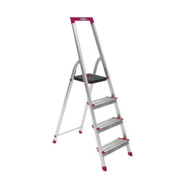 稳耐 宽踏板家用梯,踏台数:4,额定载荷(KG):100,工作高度(米):0.8,L234R-5CN