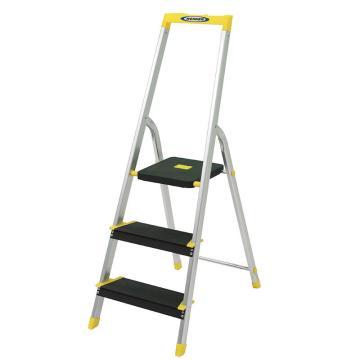 稳耐 铝合金宽踏板家用梯,踏台数:3,额定载荷(KG):100,工作高度(米):0.61,P233-5CN