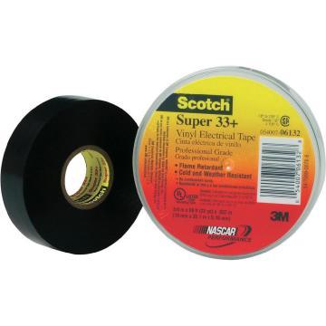 3M 电工胶带,Scotch Super33+ 黑 19mm×20.1m