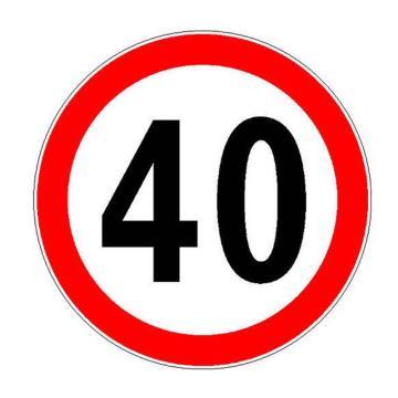 安赛瑞 交通标识-限速40公里,铝板覆反光贴膜,背后带铝槽,Ф600mm,S1054