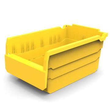 力王 货架物料盒,300*200*150mm,全新料,10个/箱,不含分隔片,SF3215-黄色