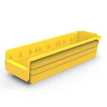力王 货架物料盒,600*200*150mm,全新料,10个/箱,不含分隔片,SF6215-黄色