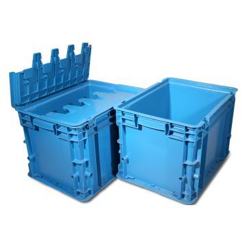 力王 C型第二代周转箱,PK-C2(带盖),外尺寸:400×300×280mm,蓝色