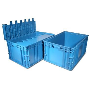 力王 D型第二代周转箱,PK-D2(带盖),外尺寸:600×400×280mm,蓝色