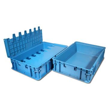 力王 H型第二代周转箱,PK-H2(带盖),外尺寸:600×400×148mm,蓝色