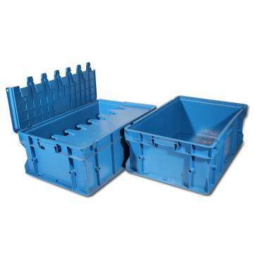 力王 J型第二代周转箱,PK-J2(带盖),外尺寸:400×300×220mm,蓝色