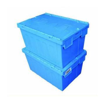 力王 可插式周转箱,PK-64315(带盖),外尺寸:600×400×315mm,蓝色