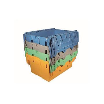 力王 可插式周转箱,PK-64320(带盖),外尺寸:600×400×320mm,灰色