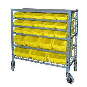 STORAGEMAID 可移动零件盒货架,855*400*950mm(含22个黄色零件盒/5层网片/顶板) (安装费另询),BRS001