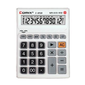 齐心 计算器,C-858 中台 舒视语音王 白 单位:台