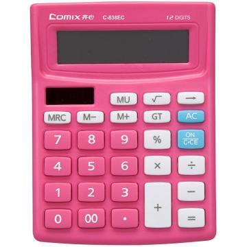 齐心 计算器,C-838EC 小台 时尚普通12位 红 单位:台(售完为止)