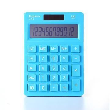 齐心 C-6S 计算器 小台 苹果系列时尚办公 蓝