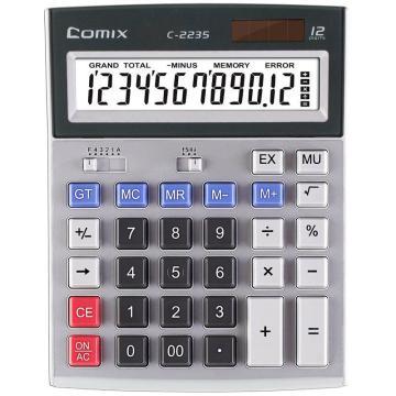 齐心 计算器,C-2235 大台 普通舒适电脑按键 灰 单位:台