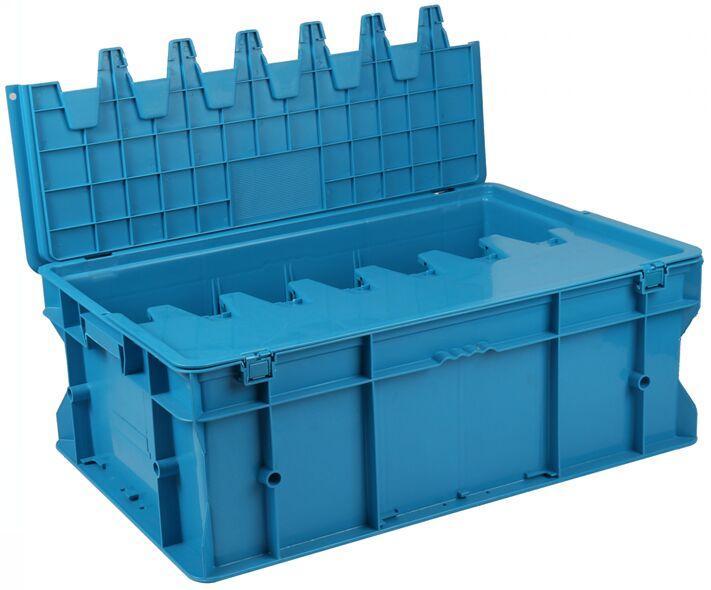 力王 PK-F有盖周转箱,外尺寸:600×400×220mm,蓝色