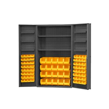 DURHAM MFG 存储柜,宽*深*高(mm):1219*610*1829,含84个物料箱、2个托架、6个门托架,托架承重(KG):408