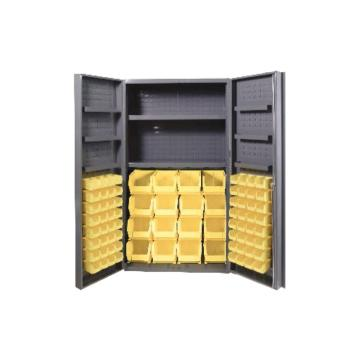 DURHAM MFG 存储柜,宽*深*高(mm):914*610*1829,含64个物料箱、2个托架、6个门托架