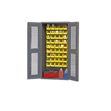 DURHAM MFG 可内视存储柜,宽*深*高(mm):914*457*1829,含15个物料箱、2个托架托架,